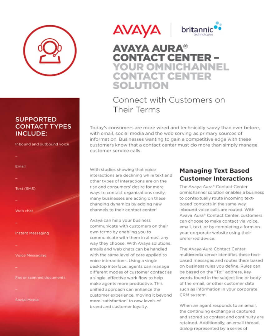 Avaya Aura Contact Centre White Paper