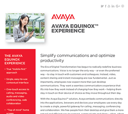 Avaya Equinox Experience Product Sheet