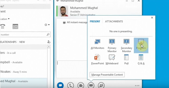 Skype for Business: Share an application
